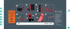 etiquette norme ECE R44.04