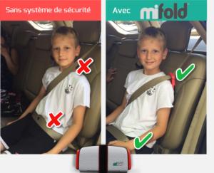 mifold adapte la ceinture de sécurité des enfants